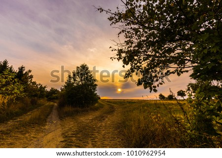 Field path lined with trees at sunset. Moravian landscape Lipova. #1010962954
