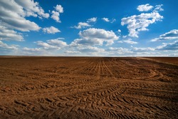 field prepared for sowing and tracks of tractor tires, beautiful blue sky