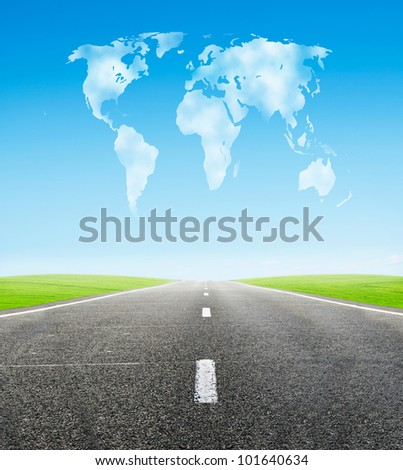 field road and cloudy world shape in sky - travel and tranportation concept