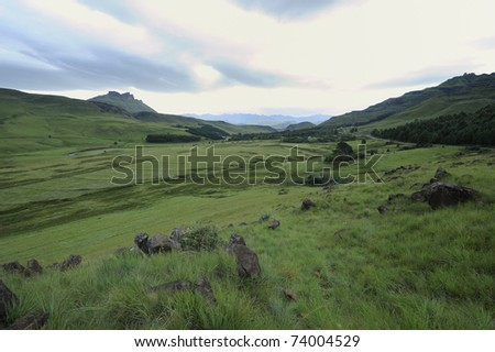 fields in the foothills of the drakensberg. view of the Umzimkulu valley, Drakensberg gardens, kwazulu Natal, South Africa