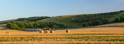 Fields of freshly harvested hay bales dry in the sun in fields under the South Downs hills at Ringmer in East Sussex, England.