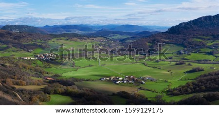 Fields with cereals and villages in the Ollo Valley, Navarra Stock fotó ©