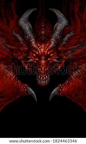 Fierce dragon head - digital painting Stock photo ©