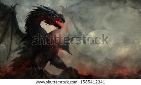 Fierce fantasy black winged dragon illustration Foto stock ©