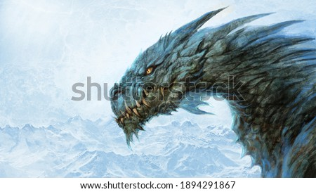 Fierce ice dragon - digital illustration Stock photo ©
