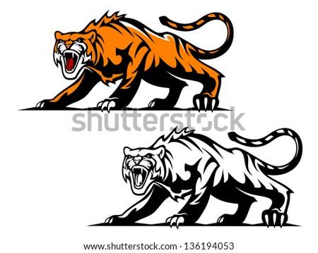 fierce snarling wild cat