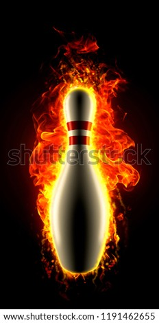 Fiery bowling ninepin on fire - Shutterstock ID 1191462655