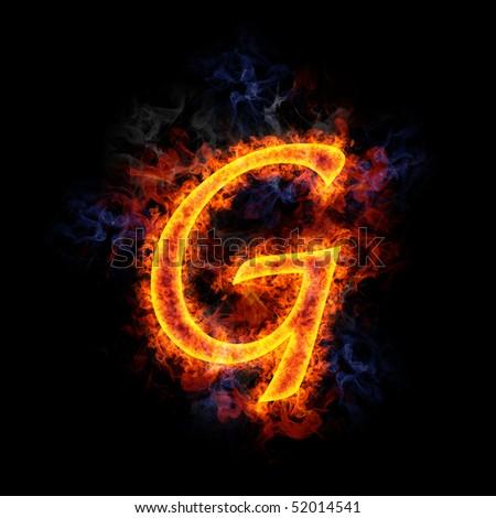 Fiery, burning letter G