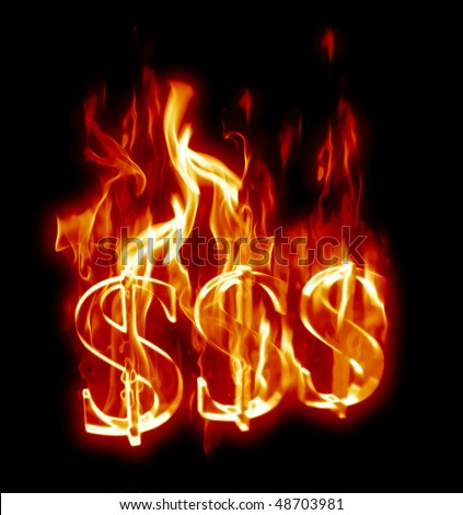 Fiery 3D Dollar Signs.