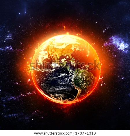 Fiery Earth - Elements of this Image Furnished by NASA