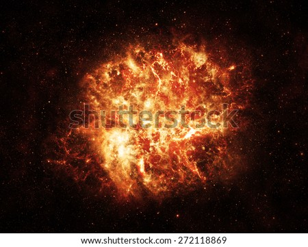 Fiery Explosion in Space - Elements of this Image Furnished by NASA #272118869