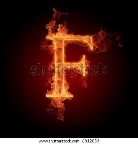 Fiery font. Letter F