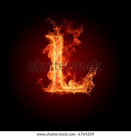 Fiery font. Letter L