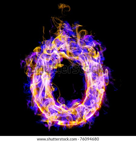 Fiery Font With Rose And Blue. Letter O Stock Photo ...