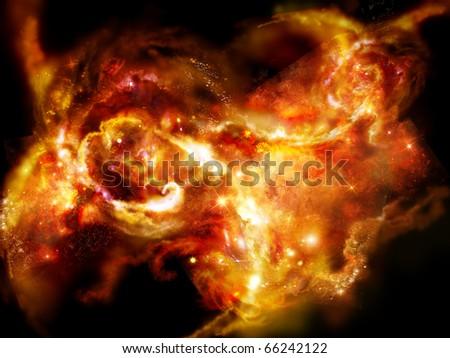 Fiery nebula, striking bright space