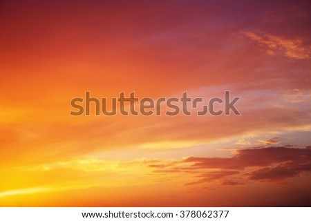 Fiery orange colorful sunset sky. Beautiful sky.