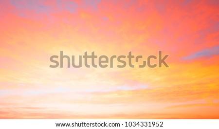 Fiery orange sunset sky. Beautiful sky