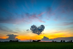 Fiery orange sunset sky. Beautiful sky.sunset in Thailand.Amazing dark cloud over rice field.