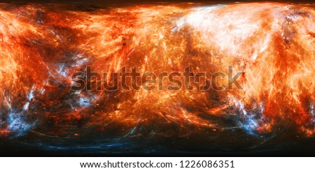 Fiery planet texture with blue energy bursts panorama map, computer generated abstract 360 degrees panorama, 3D rendering