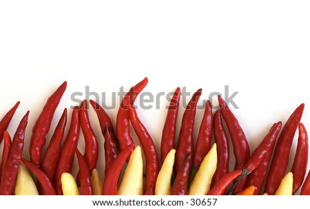 Fiery red and white chillies, like flames