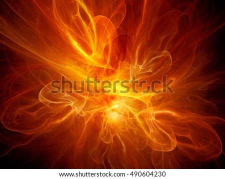 Fiery red flame fractal, computer generated abstract background