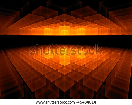 fiery red geometrical hi tech perspective stretching off to infinity, abstract illustration