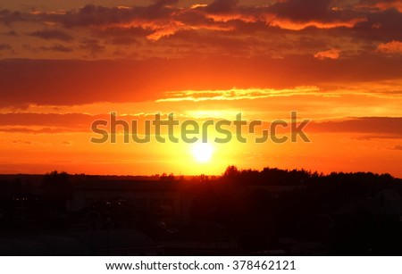 fiery sky at sunset #378462121