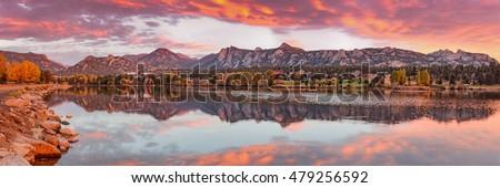 Fiery Sunrise and Alpenglow over Estes Park - Rocky Mountain National Park Estes Park Colorado Stock photo ©