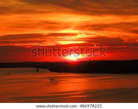 fiery sunset in osage beach,  lake of the  ozarks, , missouri