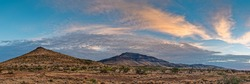 Fiery Sunset Panorama of Blue Mountain and Unnamed Peak - Davis Mountains Scenic Loop - Fort Davis