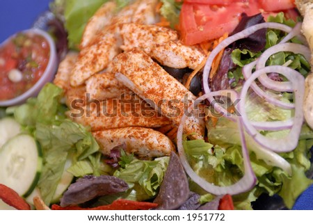 Fiesta red white and blue salad with chips and salsa