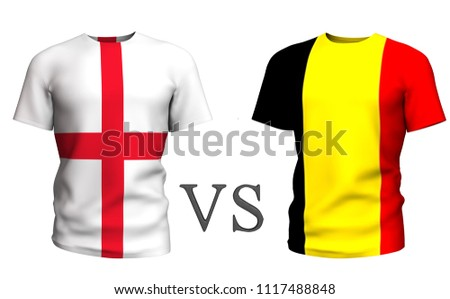 Fifa Cup. Belgium vs England . Soccer concept. isolated on White background with the flag t-shirt. 3d render