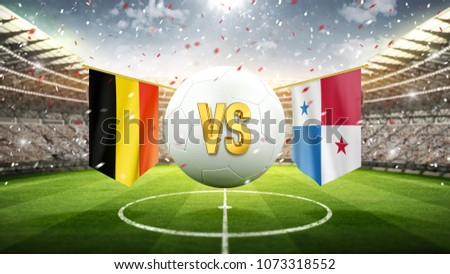 Fifa Cup. Belgium vs Panama. Soccer concept. White soccer ball with the flag in the stadium, 2018. 3d render