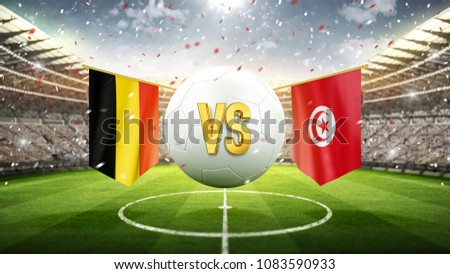 Fifa Cup. Belgium vs Tunisia. Soccer concept. White soccer ball with the flag in the stadium, 2018. 3d render