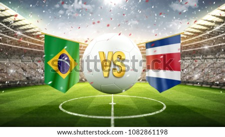 Fifa Cup. Brazil vs Costa-Rica. Soccer concept. White soccer ball with the flag in the stadium, 2018. 3d render