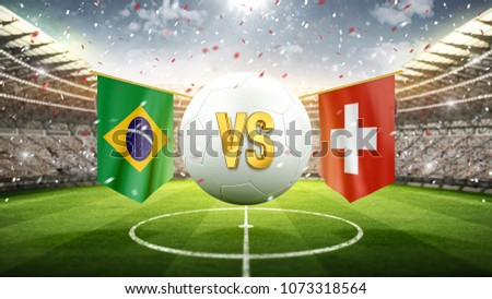 Fifa Cup. Brazil vs Switzerland. Soccer concept. White soccer ball with the flag in the stadium, 2018. 3d render