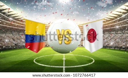 Fifa Cup. Colombia vs Japan. Soccer concept. White soccer ball with the flag in the stadium, 2018. 3d render