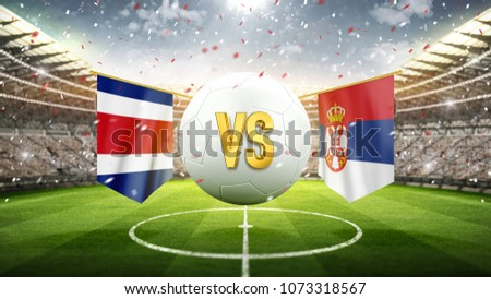Fifa Cup. Costa Rica vs Serbia. Soccer concept. White soccer ball with the flag in the stadium, 2018. 3d render