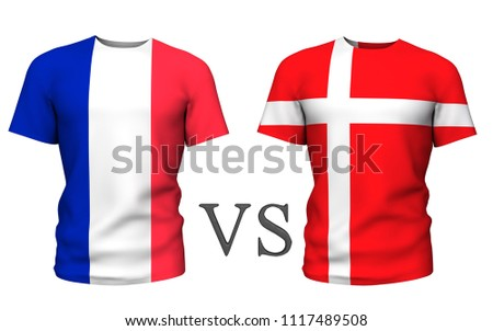 Fifa Cup. denmark vs france . Soccer concept. isolated on White background with the flag t-shirt. 3d render