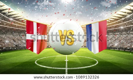 Fifa Cup. Denmark vs France. Soccer concept. White soccer ball with the flag in the stadium, 2018. 3d render