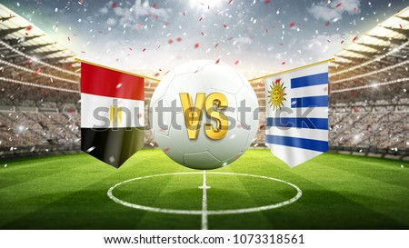 Fifa Cup. Egypt vs Uruguay. Soccer concept. White soccer ball with the flag in the stadium, 2018. 3d render