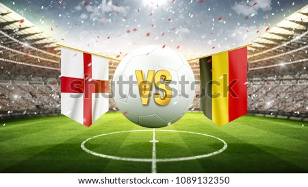 Fifa Cup. England vs Belgium. Soccer concept. White soccer ball with the flag in the stadium, 2018. 3d render