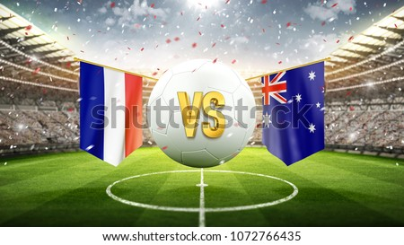 Fifa Cup. France vs Australia. Soccer concept. White soccer ball with the flag in the stadium, 2018. 3d render