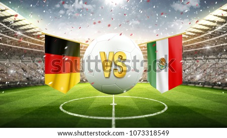 Fifa Cup. Germany vs Mexico. Soccer concept. White soccer ball with the flag in the stadium, 2018. 3d render