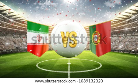 Fifa Cup. Iran vs Portugal. Soccer concept. White soccer ball with the flag in the stadium, 2018. 3d render