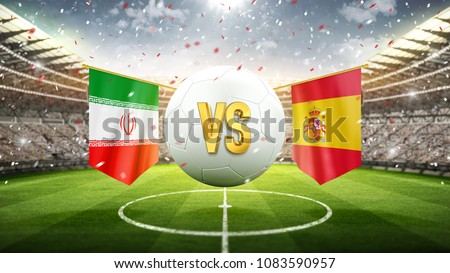 Fifa Cup. Iran vs Spain. Soccer concept. White soccer ball with the flag in the stadium, 2018. 3d render