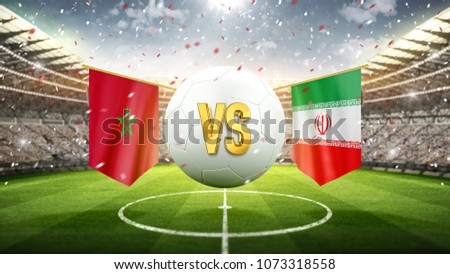 Fifa Cup. Morocco vs Iran. Soccer concept. White soccer ball with the flag in the stadium, 2018. 3d render