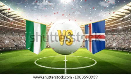 Fifa Cup. Nigeria vs Iceland. Soccer concept. White soccer ball with the flag in the stadium, 2018. 3d render