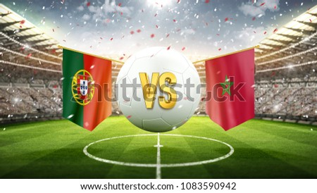 Fifa Cup. Partugal vs Marokko. Soccer concept. White soccer ball with the flag in the stadium, 2018. 3d render