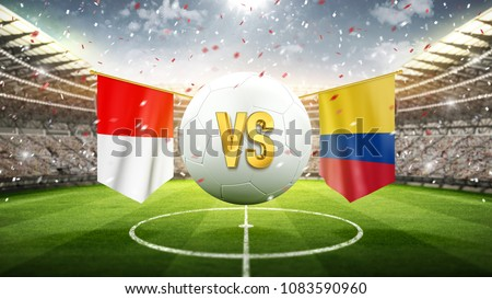 Fifa Cup. Poland vs Colombia. Soccer concept. White soccer ball with the flag in the stadium, 2018. 3d render
